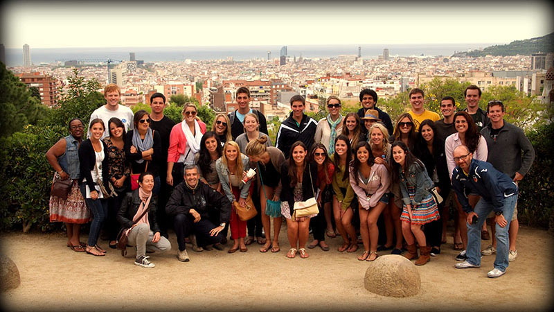 Park Güell Students at the top of Park Güell during the Barcelona Trip.